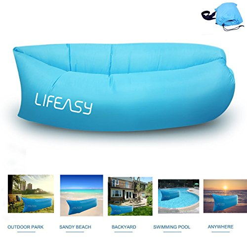 **NEW VERSION** Thicker&Longer -- Lifeasy - Outdoor Waterproof Inflatable Air Sofa Couch Portable Compression Sleeping Lounger for Camping, Beach, Park, Backyard -- Blue (Camping Trolley compare prices)