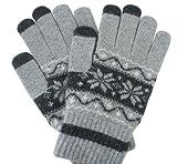 Fairlese(フェアレーゼ) 高品質素材使用 スマホ タッチパネル対応手袋 ノルディック柄 グレー 特殊編みで高反応 オリジナルモデル