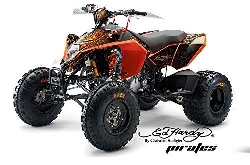Ed Hardy AMR Racing KTM 450, 525 and 505 ATV Quad, Graphic Kit - Pirates: Orange (Ktm 525 Quad compare prices)
