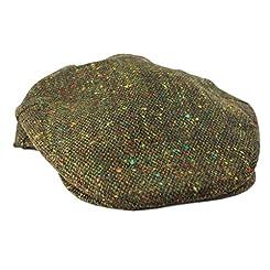 John Hanly & Co. Irish Tweed Flat Cap - Green Donegal Fleck