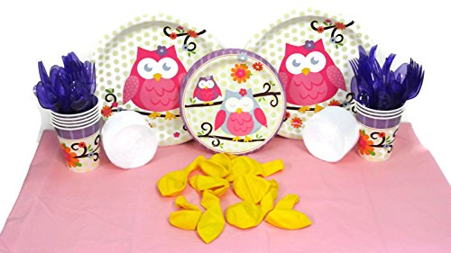 Owl Blossom Decorating Bundle of 113 Items for a Party of 16 Guests. Dinner Plates, Dessert Plates, Cups, Pink Table Cover, Purple Forks, Knives, Spoons, White Streamers and Yellow Balloons. (Yellow And Purple Streamers compare prices)