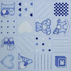 Baby blue polycotton fabric with patchwork nursery abc for Nursery fabric uk