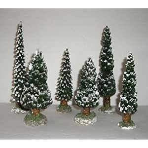 #!Cheap Department 56 Snowy Evergreens Set of 6