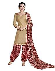 Desi Look Women's Beige Cotton Patiyala Dress Material With Dupatta
