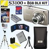 Nikon Coolpix S3100 14 MP Digital Camera (Silver) + Nikon Case + 8GB Deluxe Accessory Kit