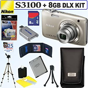 Nikon Coolpix S3100 14 MP Digital Camera (Silver) + Nikon Case + EN-EL19 Battery + 8GB Deluxe Accessory Kit