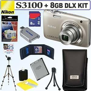 Nikon Coolpix S3100 14 MP Digital Camera (Silver) + Nikon Case + EN-EL19 Battery + 8GB Deluxe Accessory Kit