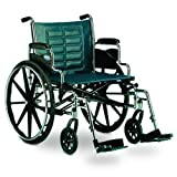 51lJVsMnvGL. SL160  Wheelchair 24x18 Black Adjustable Seat 24W x 18D/Padded, removable, desk length arms.