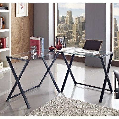 WE Furniture Glass and Metal X-Frame Corner Computer Desk
