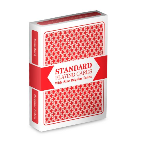 Red Deck, Wide Size, Plastic Coated, Standard Playing Cards by Brybelly - 1