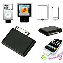 NewBull 30-Pin Bluetooth Adapter for iPod Classic iPhone Touch Nano Video Adaptor iTouch (Black)