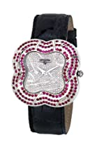 Swisstek SK57737L Limited Edition Swiss Diamond Watch With Red Rubies, Genuine Crocodile Strap And Sapphire Crystal