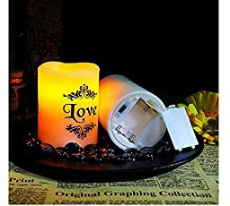 ECVISION Flickering REAL WAX Flameless Candles Battery Operated Romantic Led Candles with Tray - Perfect on Windows - Set of 3 with Love Pattern (3pcs/LOVE)