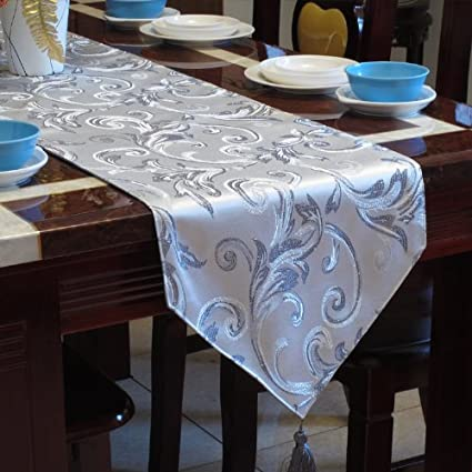 Silver Silk Jacquard Damask Table Runner by Diaidi