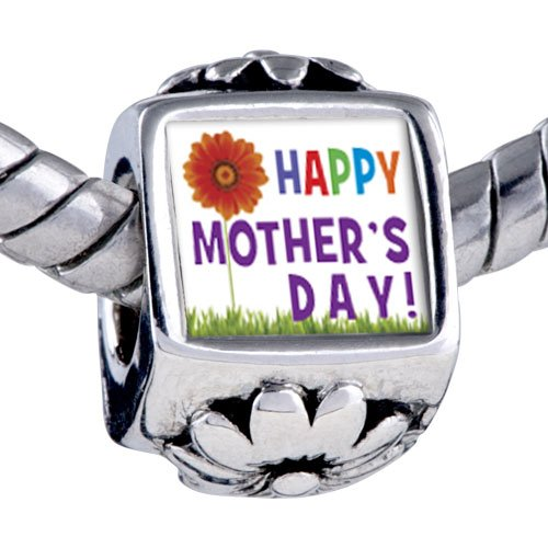 Pugster® Pugster Bead Happy Mother's Day Theme Photo Flower European Charm Bead Fits Pandora Bracelet