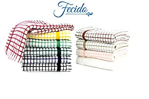 Fecido Classic Collection Kitchen Dish Towels, Heavy Duty Dish Towels - Super Absorbent Tea Towels -100% Cotton Kitchen Towels- Professional Grade Dish Cloths