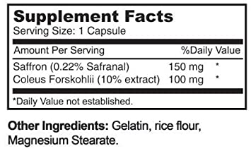 250mg Forskolin Extract And Saffron Extract Combo Weight Loss