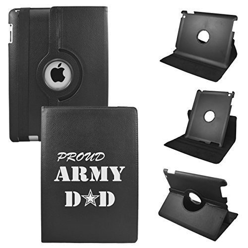 Ipad Mini Proud Army Dad Leather Rotating Case 360 Degrees Multi-Angle Vertical And Horizontal Stand With Strap (Black)