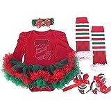 (スマイル)smile クリスマス ベビー キッズ サンタクロース コスプレ ロンパース 長袖 衣装 仮装 女の子 L 6-12ヶ月 4点セット 赤