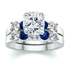3.51 ct Cushion Diamond with Round Blue Sapphire Ring Set