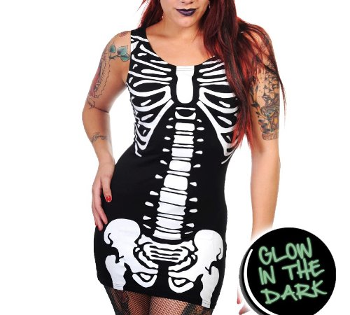 BANNED Goth MINI DRESS Top SKELETON Ribs Ribcage Horror GLOW S 8