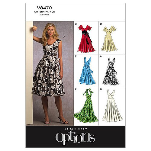 New Vogue Patterns V8470 Misses' Dress, Size B5 (8-10-12-14-16)