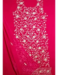 Exotic India Magenta Salwar Suit With White Floral Embroidery And Sequ - Magenta