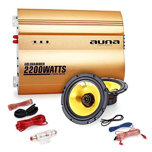 "Auna ""Golden Race V1"" Set car audio 2.0 Casse Amplificatore (2200 Watt, coppia altoparlanti 13 cm, membrana d'oro, set completo di cavi)"
