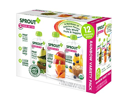 Sprout Organic Baby Food Stage 2 Pouches Variety Pack, Pear Kiwi Peas Spinach/Carrot Apple Mango/Blueberry Banana Oatmeal (Pack of 12)