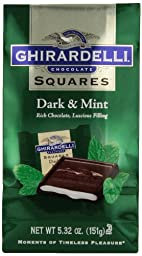 Ghirardelli Chocolate Squares, Dark and Mint Filled, 5.32 oz., (Pack of 6)