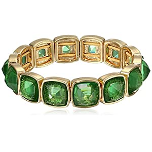 Anne Klein Gold-Tone Green Cushion Cut Stretch Bracelet, 16