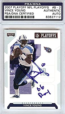 "Vince Young Autographed 2007 Playoff Nfl Card #b-2 Tennessee Titans ""06 Roy"" Psa/dna Stock #97201"