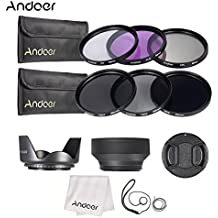 Alcoa Prime Andoer 58mm Lens Filter Kit UV+CPL+FLD+ND(ND2 ND4 ND8) With Carry Pouch Lens Cap Holder Tulip & Rubber...