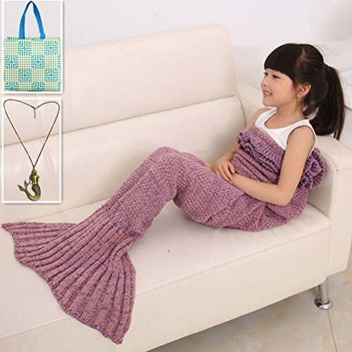 Morning-sunshine Knitted Mermaid Tail Blanket for Kids ,Hand Crochet Snuggle Mermaid Super Soft Comfortable for All Seasons Sleeping Reading Watching Working Sofa Camping Blankets (Pink) (Car Light Shine compare prices)