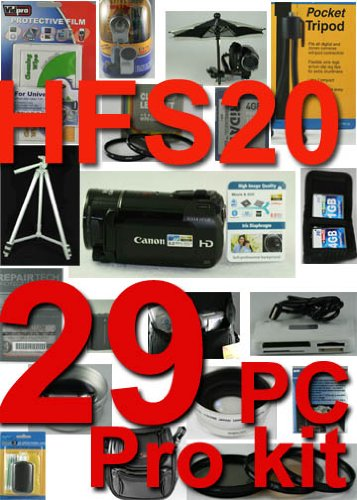 Canon HFS20 29 Piece Pro Kit with 5 Years Ext warranty Plan , 3 Piece Lens Cleaning Kit , Card case Holds 3 cards , High speed card reader , Table top Tripod , ultra compact with flexible wire leg , Camcorder Light , LCD protector , 16GB high speed card , 3 piece Filter kit , Rain sleeve, Soft case, full size Tripod , 2X Professional High Definition telephoto Lens , 0.5 X professional high Definition wide Angle Lens , Close-up Macro Set , Deluxe camcorder Bag , Pop Abrella , External Zoom Microp