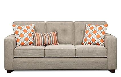 Chelsea Home Furniture Dayton Sofa, Dude Grey with Aura Granite/Divine II Granite Pillows