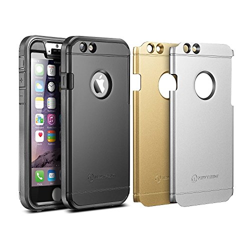 iPhone 6 Case, New Trent Trentium 6S 4.7 [Ultra-thin] [Heavy Duty] Full-Body Rugged [Water resistant/Dirt/Shockproof] Case for Apple iPhone 6 with 4.7″ screen [with Built-In Screen Protector ] [Black/Silver/Gold Interchangeable Back Plate Included] -NOT compatible to iPhone 6 Plus 5.5″ image