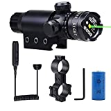 Shockproof 532nm Tactical Green Dot Laser Sight Rifle Gun Scope Rail and Barrel Mounts Cap Pressure Switch (Color: Black, with battery)