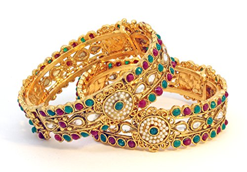 Be You Gold Plated Polki style Bangles Set (yellow)