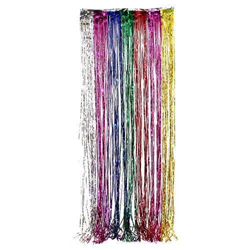3x8 Ft RAINBOW Party Curtain Metallic Fringe Foil