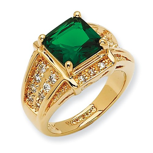 Gold-Plated Swarovski Crystal Green Princess-Cut Ring, Size 7