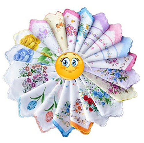 KINGDESON Colorful Women Floral Handkerchiefs Wedding Party Fabric Hankies 24PCS