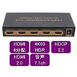 ハイビジョンHDMI2.0対応 4分配器 4K60Hz HDR対応【aHSP14-4KHDR】