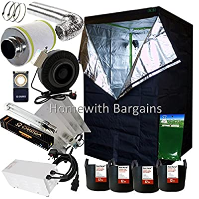 "Best Complete Grow Room Setup 1.2m 120cm Tent, 5"" Fan/Filter, 600w Light Kit, Hydroponics"