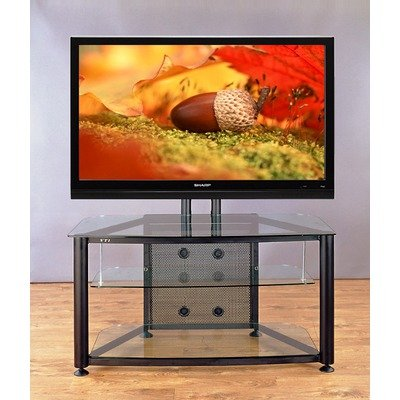 "Flat Panel TV Cart 43"" TV Stand Frame: Silver, Glass Color: Tinted Black"