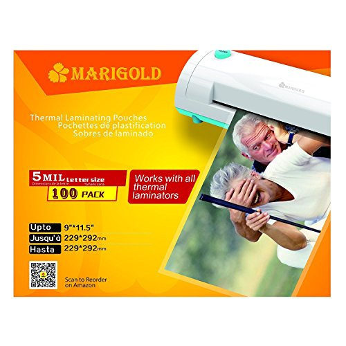 Marigold-100-Pack-Count-5-mil-Letter-Size-9x115-Thermal-Laminating-Pouches-Laminator-Film-Sheets-TLP5LTR
