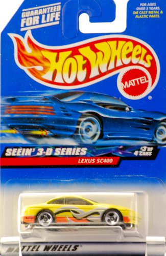 2000 - Mattel - Hot Wheels - Seein' 3-D Series #3 of 4 - Lexus SC400 (Yellow / Orange) Collector #011 - Wave Graphics - Showroom Wheels - Tinted Windows - New - Out of Production - Limited Edition - Collectible - 1