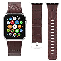 Apple Watch Band with Apple Watch Lug MoKo Premium Genuine Leather Crocodile Pattern Replacement Strap for 42mm Apple Watch All Models BROWN