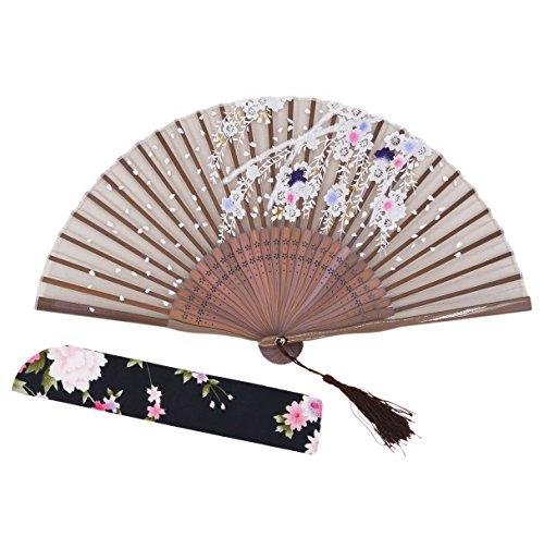 Amajiji® Chinese Japanese Folding Hand Fan for women,Vintage Retro Style 8.27