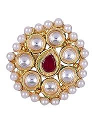 Chokers And Charms Beautiful Rajwada Style Oval Shaped Kundan Ring For Women